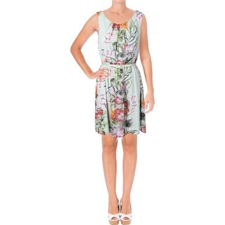Connected Apparel Womens Petites Casual Dress Floral Pleated - 12P