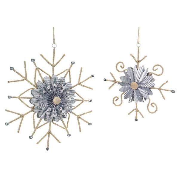 """Pack of 6 Beige and Silver Twine Wrapped Snowflake Ornaments 10.5"""""""