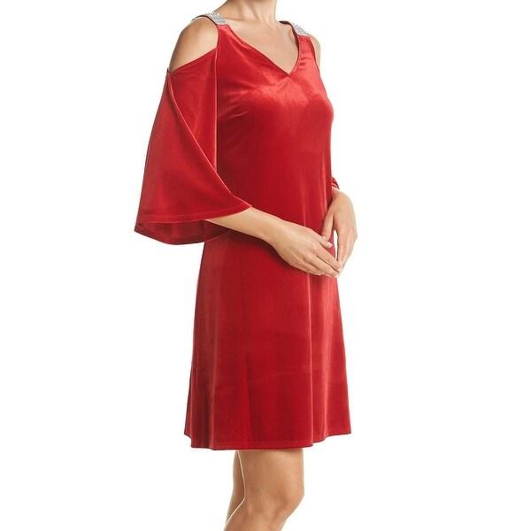 b2bbd7b98ecc9 Shop MSK NEW Red Velvet Embelished Cold Shoulder Women's Size 8 ...