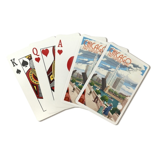Chicago, IL - River View - LP Artwork (Poker Playing Cards Deck)