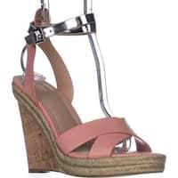Charles Charles David Brit Wedge Sandals, Blush/Silver