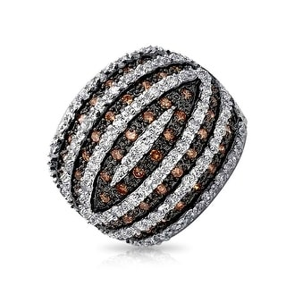 Bling Jewelry Coffee CZ Banded Dome Cocktail Ring Rhodium Plated