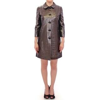 Dolce & Gabbana Gray Metallic Trench Coat Jacket