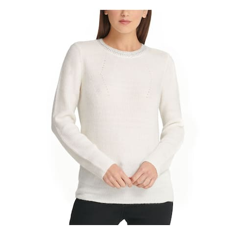 DKNY Womens Ivory Long Sleeve Crew Neck T-Shirt Sweater Size L