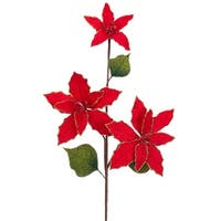Pack of 12 Artificial Red and Gold Glitter Poinsettia with Berries Christmas Sprays 23""
