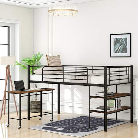 Merax Twin Size Metal Loft Bed with Desk and Shelves