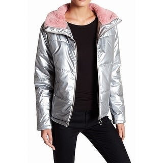 Abound NEW Silver Women's Medium M Full Zip Puffer Faux Fur Trim Jacket
