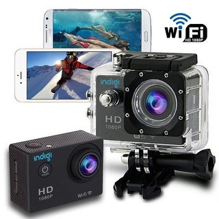 "Indigi Waterproof Rugged 4K Action CAM + Built-In 1.5"" LCD + WiFi Connect to iOS or Android Devices + Mounts Included"