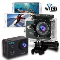"""Indigi Waterproof Rugged 4K Action CAM + Built-In 1.5"""" LCD + WiFi Connect to iOS or Android Devices + Mounts Included"""