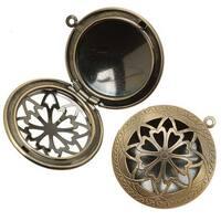Antiqued Brass Round Celtic Design Window Locket Pendant 32mm (1)