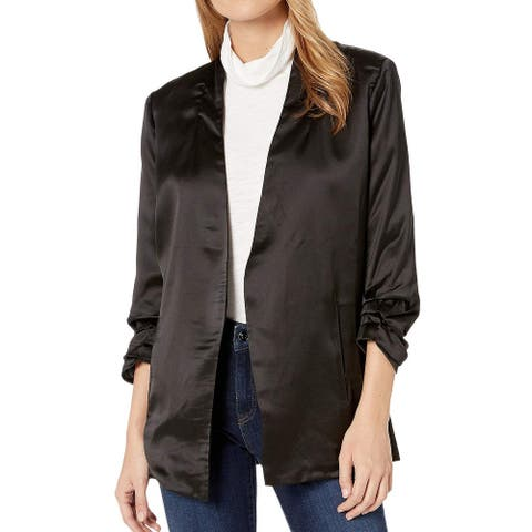 Bishop + Young Women's Jacket Black Size Small S Open-Front Cinched
