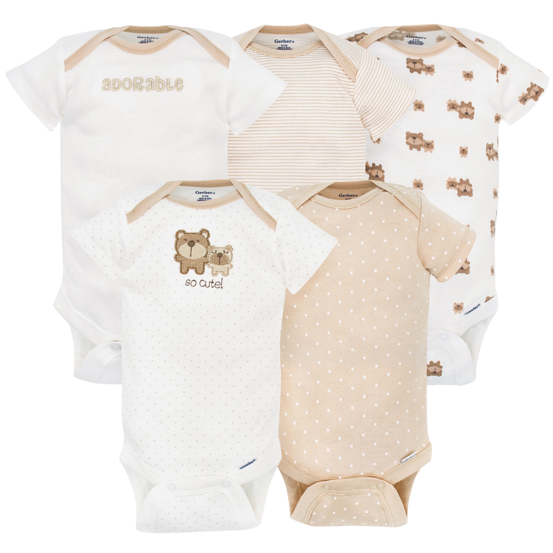 Newborn White Gerber Unisex-Baby 5 Variety Pack Onesies Brand