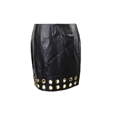 Inc International Concepts Black Grommet-Trim Pleather Skirt 4
