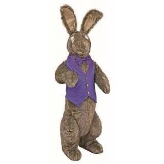 4.5' Large Standing Bunny Rabbit in Purple Vest and Bow Stuffed Animal - Brown
