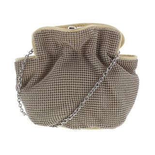 La Regale Womens Ball Mesh Crossbody Evening Handbag - Taupe - Small