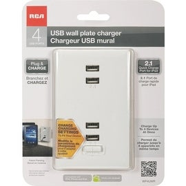 RCA Wht 2.1A 4 Usb Charger