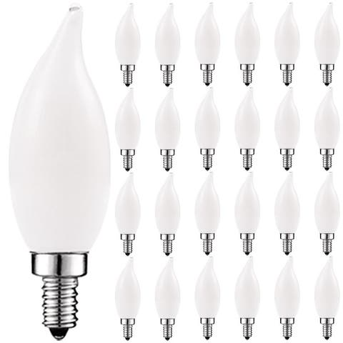 Luxrite LED Chandelier Light Bulb, E12 LED Bulb Dimmable, 40W Equivalent, 2700K Warm White, Flame Tip, 360lm, UL, 24PK