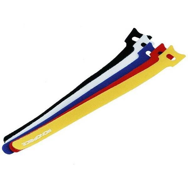 Monoprice Hook and Loop Fastening Cable Ties, 9 in, 50 pcs/pack, 5 Colors