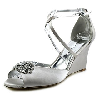 Audrey Brooke Blair Women Open Toe Canvas Silver Wedge Heel
