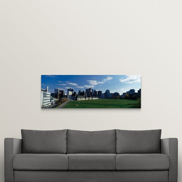 """Skyscrapers in a city, McGill University, Montreal, Quebec, Canada"" Canvas Wall Art"