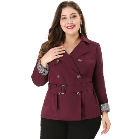 Women's Plus Size Lapel Blazer Double-Breasted Belted Trench Coat - Red