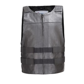 Men Leather Motorcycle Biker Tactical Street Vest Bullet Proof Style Black MBV115