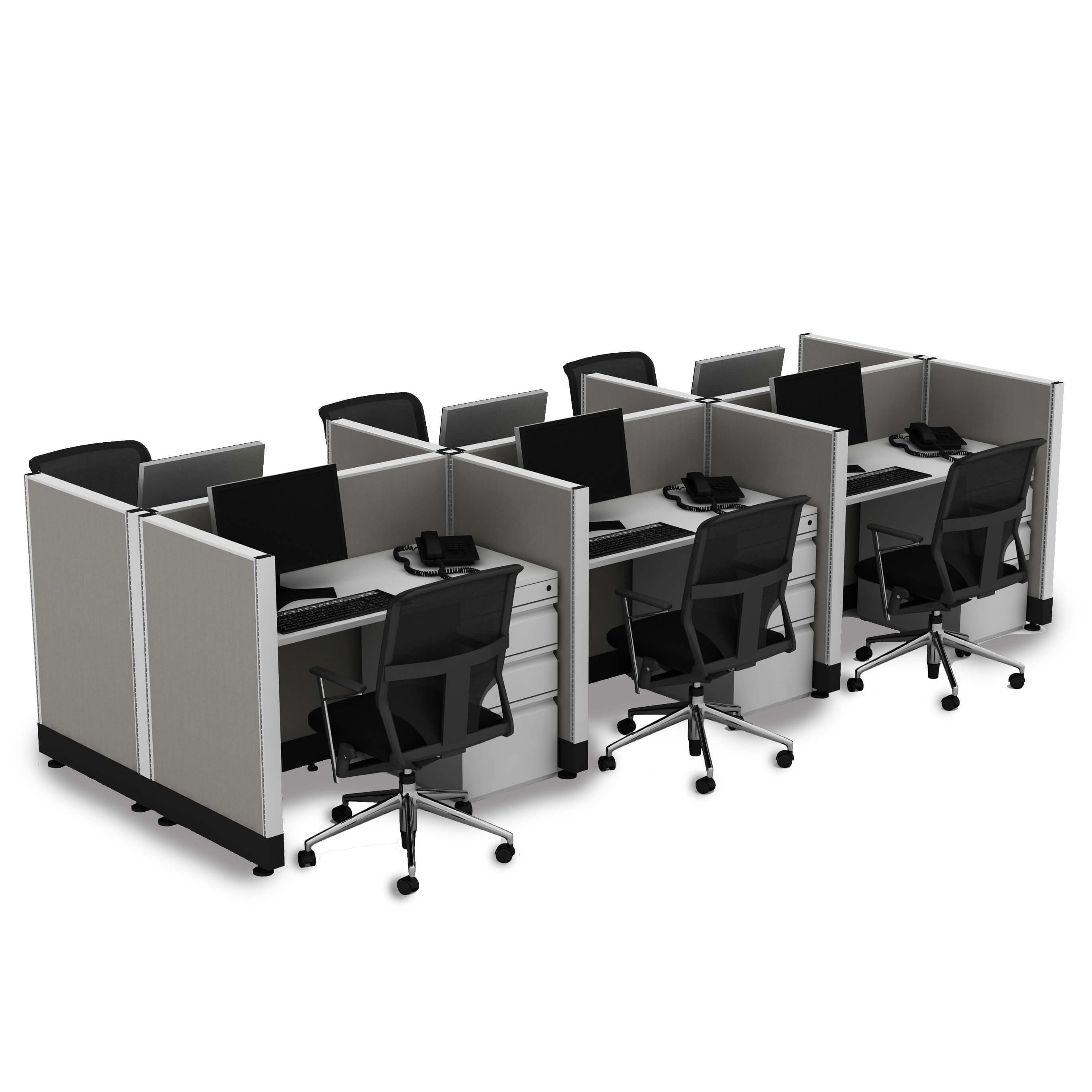 Small Office Cubicles 39H 6pack Cluster Unpowered (2x3 - White Desk White Paint - Assembled)