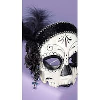 La Muerta Skull Face Mask, Day Of The Dead Mask - Black - One Size Fits Most