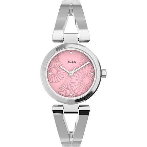 Timex Women's Fashion Stretch Bangle Floral 25mm Watch - Silver-Tone Case Pink Dial with Stainless Steel Expansion Band