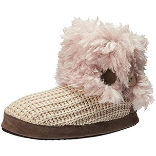 Muk Luks Womens Bootie Slippers Knit Fold-Over - XL