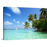 Premium Thick-Wrap Canvas entitled Sail boat near Biyadhoo island, South Male Atoll, Maldives, Indian ocean.