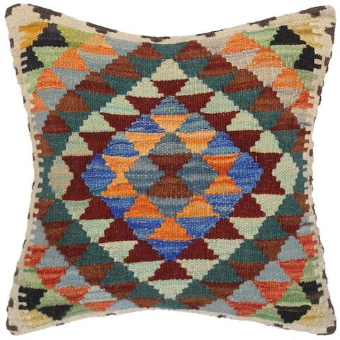 Bauhaus Joel Hand-Woven Turkish Kilim Throw Pillow