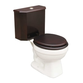 Round Toilet with Cherry Wood Tank and White China Bowl