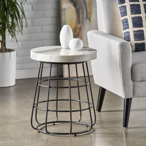 """Woodbine Modern Handcrafted Marble Side Table by Christopher Knight Home - 18.00"""" L x 18.00"""" W x 22.00"""" H"""
