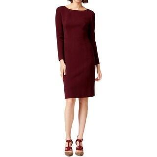Anne Klein Womens Wear to Work Dress Faux Leather Trim Long Sleeves