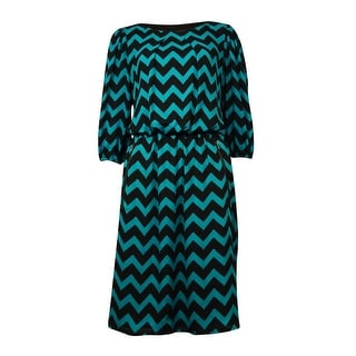 S.L. Fashions Women's Half-Sleeves Zip-Pockets Chevron Dress - 8