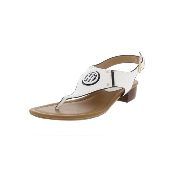 b842a233d Shop Tommy Hilfiger Womens Kissi T-Strap Sandals Faux Leather Thong ...