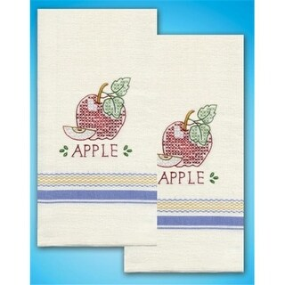 Tobin T212938 Stamped Kitchen Towels For Embroidery-Apple