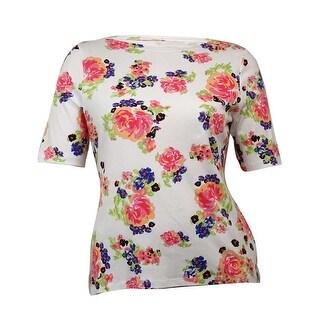 Charter Club Women's Floral Bateau Pima Knit Top - bright white combo