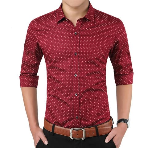 Mens Casual Shirt Long Sleeve Slim Fit Button Down Business Shirts
