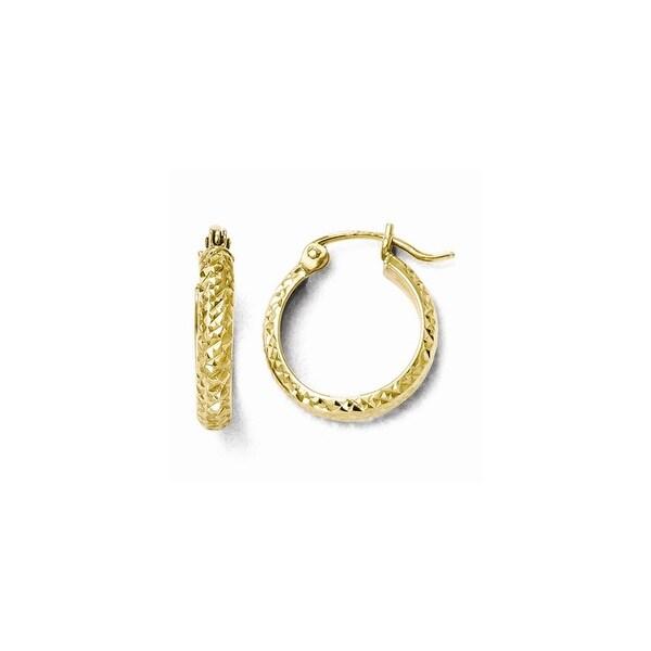 10k Gold Diamond Cut Hinged Hoop Earrings