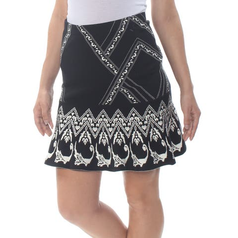 CECE Womens Black Embroidered Tribal Above The Knee Skirt Size: M