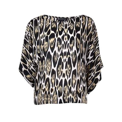 INC International Concepts Women's Dolman Animal Print Top - Oblong Leopard