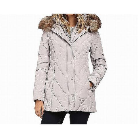Jessica Simpson Womens Jacket Gray Size Medium M Puffer Faux-Fur
