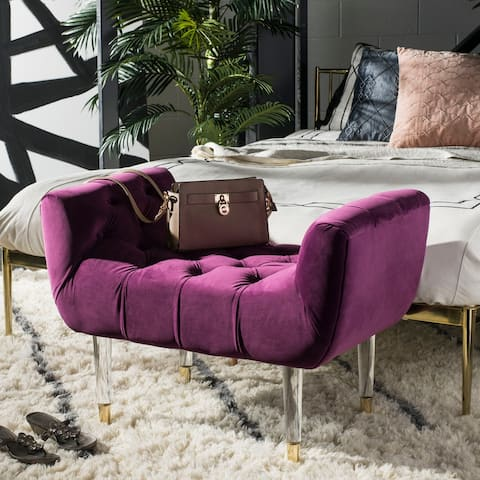SAFAVIEH Couture Eugenie Tufted Velvet Acrylic Bench- Plum / Gold - 34.84 In W x 21.26 In D x 24.41 In H