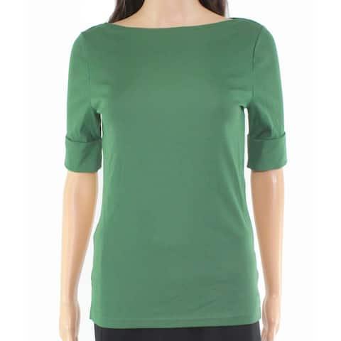 Lauren by Ralph Lauren Women's Top Blouse Green Large L Knit Cuffed