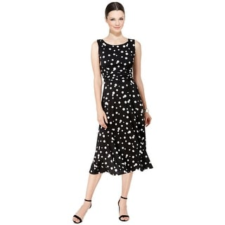 Jessica Howard Polka Dot A-Line Sleeveless Midi Dress - 6