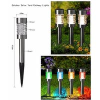 "Kanstar 16"" Stainless Steel Color Changing Solar Power Landscape Lawn Pathway Stake Light (set of 1)"