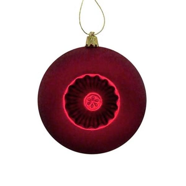 "6ct Matte Red Hot Retro Reflector Shatterproof Christmas Ball Ornaments 4"""
