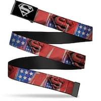 Superman Reverse Brushed Silver  Cam Superman Shield Stars & Stripes Web Belt